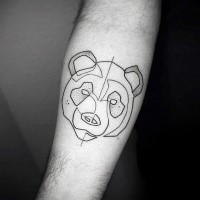 Sketch style black ink forearm tattoo of panda bear face