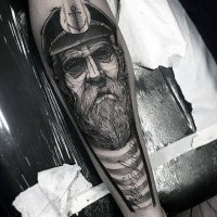 Sketch style black ink forearm tattoo of old sailor