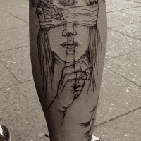 Sketch style black ink leg tattoo of woman with bandage and and bee