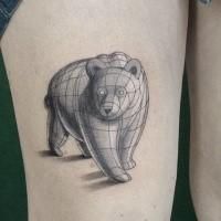 Skizzestil tinteschwarzer  Oberschenkel Tattoo des großen Bären