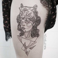 Sketch style black ink thigh tattoo of woman face with tiger helmet with geometrical figures