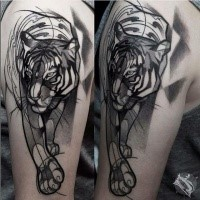 Sketch style black ink upper arm tattoo of steady tiger