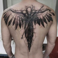 Sketch style black ink upper back tattoo of fantasy human with clock