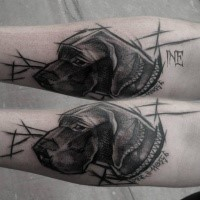 Sketch style di Inez Janiak tattoo of cute dog with lettering