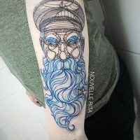 Sketch style colored arm tattoo of old sailor with blue beard