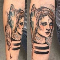 Sketch style colored forearm tattoo of sailor woman with fishes