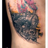 Sketch style colored side tattoo of steam train stylized with hearts