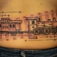 Tatuaggio di vita disegnato di stile vecchio di schizzo di vecchio treno