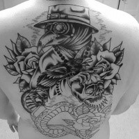 Sketch style large whole back tattoo of plague doctor with rose and snake