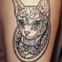 Sketch style nice looking saint cat tattoo with green eyes