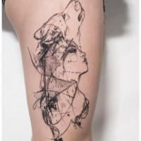 Sketch style thigh tattoo of woman with wolf