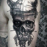 Sketch style unfinished upper arm tattoo of human skull with horns