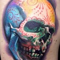 Realistic sugar skull tattoo with ornament