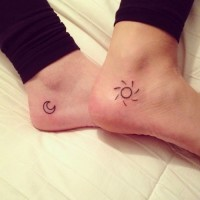 Small and cute sun and moon foot tattoo