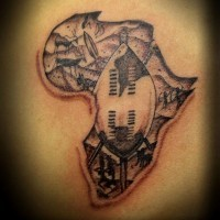 Small black ink Africa continent tattoo stylized with tribal paintings