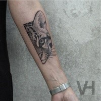 Small black ink  forearm tattoo of small wild cat by Valentin Hirsch