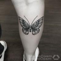 Small black ink leg tattoo of beautiful butterfly