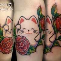 Small cartoon style colored leg tattoo of cute maneki neko japanese lucky cat with rose