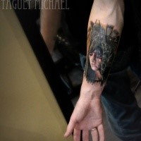 Small colored forearm tattoo of tribal woman portrait with helmet