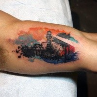 Small creative colored biceps tattoo of big working lighthouse