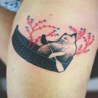 Small cute looking colored by Joanna Swirska tattoo of cat in boat