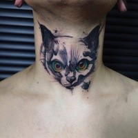 Small cute looking neck tattoo of evil face