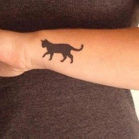 Small for girls style black ink wrist tattoo of cat