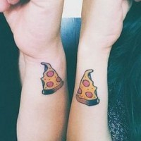 Small friendship pizza tattoos on wrists