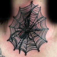 Small illustrative style colored neck tattoo of spider with web