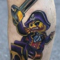 Small pirate tattoo on leg