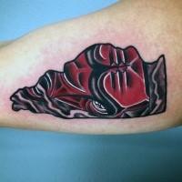 Small red colored biceps tattoo of bull emblem tattoo