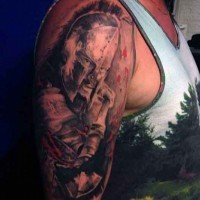 Spectacular black and white glorious shoulder tattoo of Spartan warrior