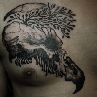 Spectacular black ink dot style chest tattoo of broken animal skull with tree