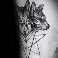 Spectacular black ink tattoo of wolves with star