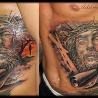 Spektakuläres dramatisches religiöses Seite Tattoo mit Jesuses Porträt