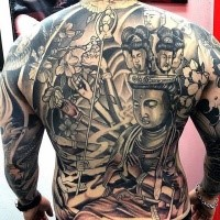 Spectacular Hinduism style large colored whole body tattoo od various Buddha statues