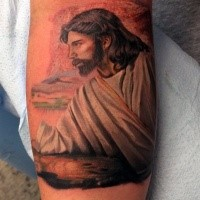 Spectacular illustrative style colored forearm tattoo of Jesus portrait