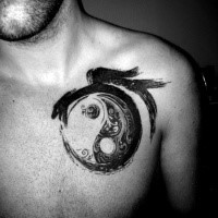 Spectacular lack and white Asian traditional style chest tattoo of Yin Yang symbol
