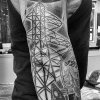 Spectacular looking colored arm tattoo of big electricity lines with lineman symbol