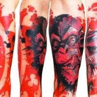 Spektakulär aussehendes farbiges Unterarm Tattoo mit rauchendem Affe und rotem Schild