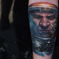 Spectacular looking colored Star Craft themed tattoo on forearm