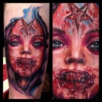 Spectacular marvelous looking forearm tattoo of monster woman face stylized with cult star
