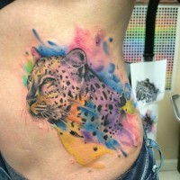 Spectacular natural looking detailed cheetah tattoo on side
