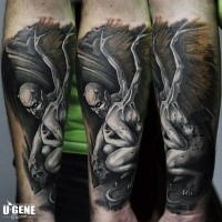 Spectacular new school style colored forearm tattoo of demon with wings and human skull