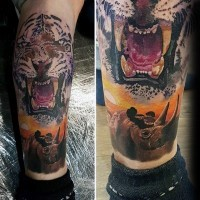 Spectacular very detailed leg tattoo of roaring white tiger with big rhino