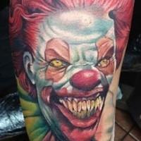 spaventoso colorato faccia di pagliaccio tatuaggio