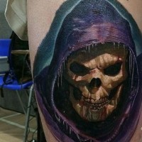Spooky colorful grim reaper tattoo