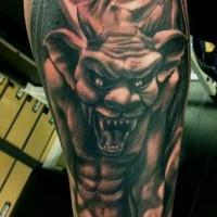 Spooky realistic gargoyle tattoo