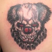 spaventoso faccia scheletro di pagliaccio tatuaggio