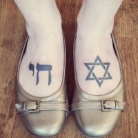 Star of David and Hebrew Chai symbol dark black ink tattoo on both foot